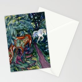 Edvard Munch - Two Horses in a Forest Stationery Cards
