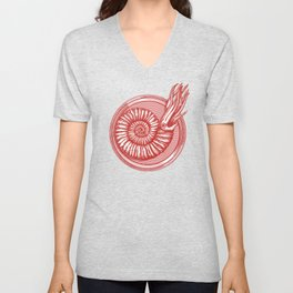 AMMONITE COLLECTION RED Unisex V-Neck
