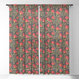 Red blooming summer flowers with golden leaves. Elegant classy stylish feminine floral gorgeous botanical vintage black pattern. Gift ideas for flower and nature lovers. Sheer Curtain