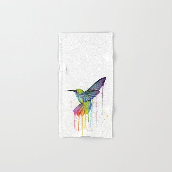 Hummingbird Rainbow Watercolor Hand & Bath Towel