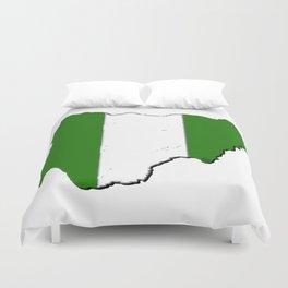 Nigeria Map with Nigerian Flag Duvet Cover