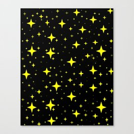 Bright Yellow Stars in Space , Cristmas Stars Canvas Print