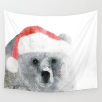 teddy bear Wall Tapestries featuring Christmas Teddy Bear by cafelab