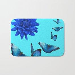 BLUE DAHLIA FLOWER & BLUE BUTTERFLIES ALLURE Bath Mat