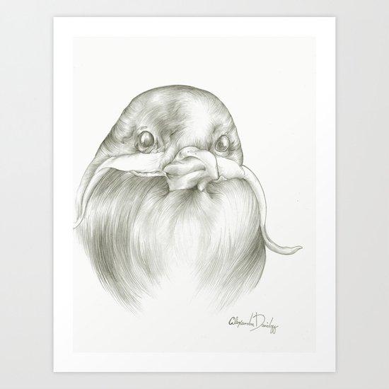 Mustache Bird  Art Print