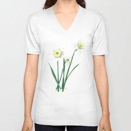 White Daffodils - 'Ice Follies' Botanical Illustration Unisex V-Neck