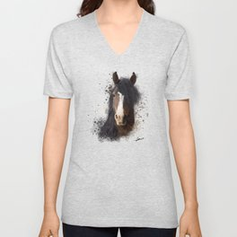 Black Brown Horse Artwork Unisex V-Neck
