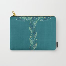Turquoise flowers alphabet T Carry-All Pouch
