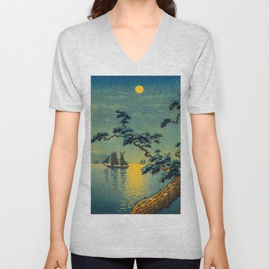 Tsuchiya Koitsu Maiko Seashore Japanese Woodblock Print Night Time Moon Over Ocean Sailboat by enshape