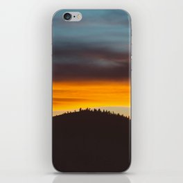 Mountain Hill With Trees Orange And Blue Sunset Clouds iPhone Skin