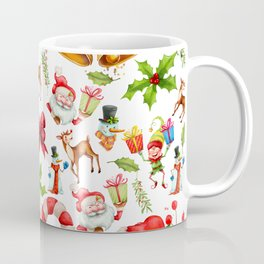 Holiday festive red green holly Christmas pattern Coffee Mug
