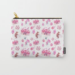 Sweet girly pink watercolor bear funfair pattern Carry-All Pouch
