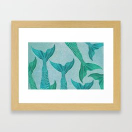 Mermaid Tails in Aquamarine Sea Framed Art Print