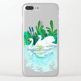 Swans in Love Clear iPhone Case