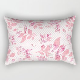 Blush pink white watercolor floral polka dots typography Rectangular Pillow