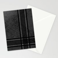 Grungy Grey Plaid Stationery Cards
