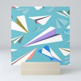 Aeroplanes - Paper Airplanes Pattern Mini Art Print