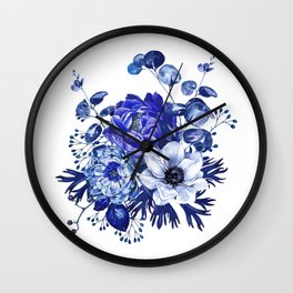China Blue Porcelain, Asia, Peony, Flower, Floral, Cyan Wall Clock