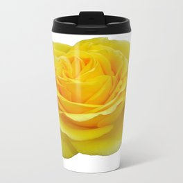 Beautiful Yellow Rose Closeup Isolated on White Travel Mug