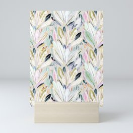 Pastel Shimmer Feather Leaves on Gray Mini Art Print