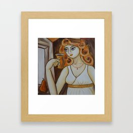 Portrait of a burlesque girl with mug brown painting by Ksavera Framed Art Print