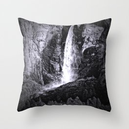 Bridalveil Falls. Yosemite California in Black and White Throw Pillow