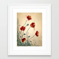 poppies Framed Art Prints featuring Poppies by Megan Hunter