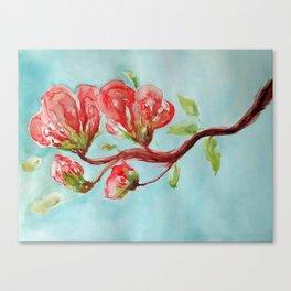 Vermilion Blossoms watercolor by CheyAnne Sexton Canvas Print