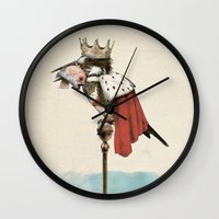 king Wall Clocks featuring King Fisher by Eric Fan