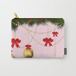 RED RIBBONS GOLD ORNAMENTS HOLIDAY PINK DESIGN ART Carry-All Pouch