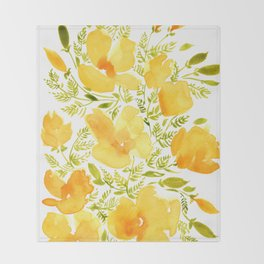 Watercolor California poppies (Quad set, #2) Throw Blanket