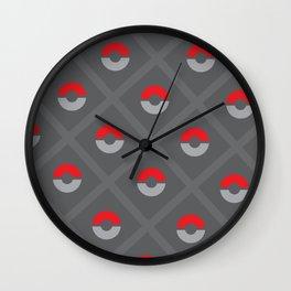 Pokéballs and Stripes Wall Clock