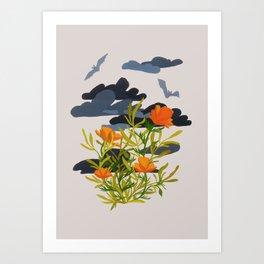 Stormy Poppy Art Print