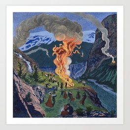 Astrup, Nikolai (1880-1928) Midsummer Night Bonfire Art Print