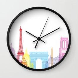Paris skyline pop Wall Clock