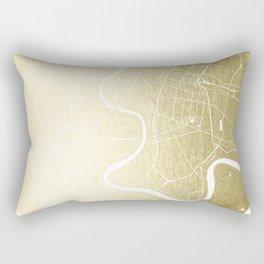 Bangkok Thailand Minimal Street Map - Gold Metallic and White Rectangular Pillow
