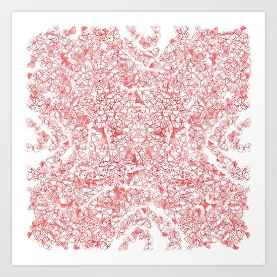Red butterflies Art Print