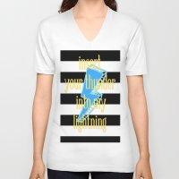 lightning V-neck T-shirts featuring lightning by Iris & Ino