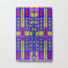 Red, Yellow and Green Art Deco Stained Glass Design Metal Print