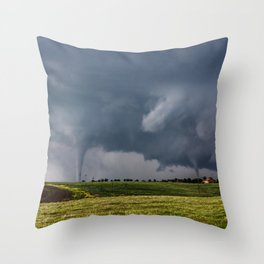 Twins - Two Tornadoes Touch Down Near Dodge City Kansas Throw Pillow