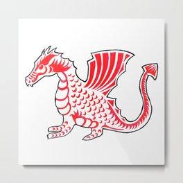 Watercolor Art   The Dragon Metal Print