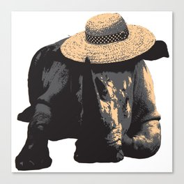 Rhino in Sun Hat Canvas Print