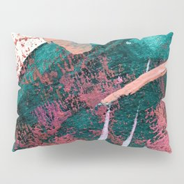 Laughter: a vibrant, colorful, minimal abstract piece in teal, pink, gold, and white Pillow Sham
