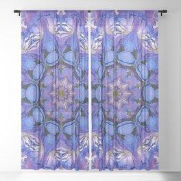 Summer sky Delphinium mandala Sheer Curtain