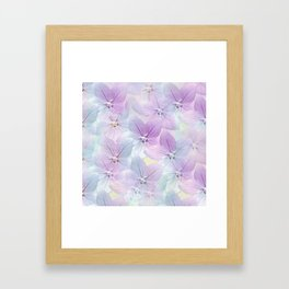 Painterly flower field in blue and pink Framed Art Print