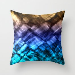 Rock Pool in Blue and Gold Throw Pillow