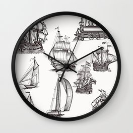 Hand drawn boats collection Wall Clock