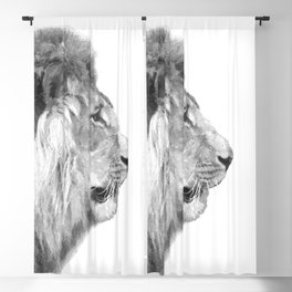 Black and White Lion Profile Blackout Curtain