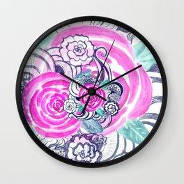 Grunge Pink Acrylic Flowers Wall Clock