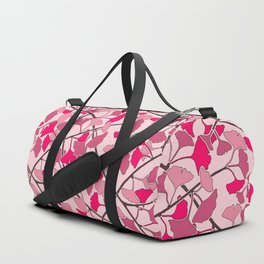 Ginkgo Leaves in Vibrant Hot Pink Tones Duffle Bag